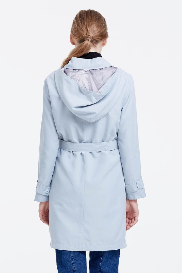 Grey trenchcoat with a hood photo 3 - MustHave online store