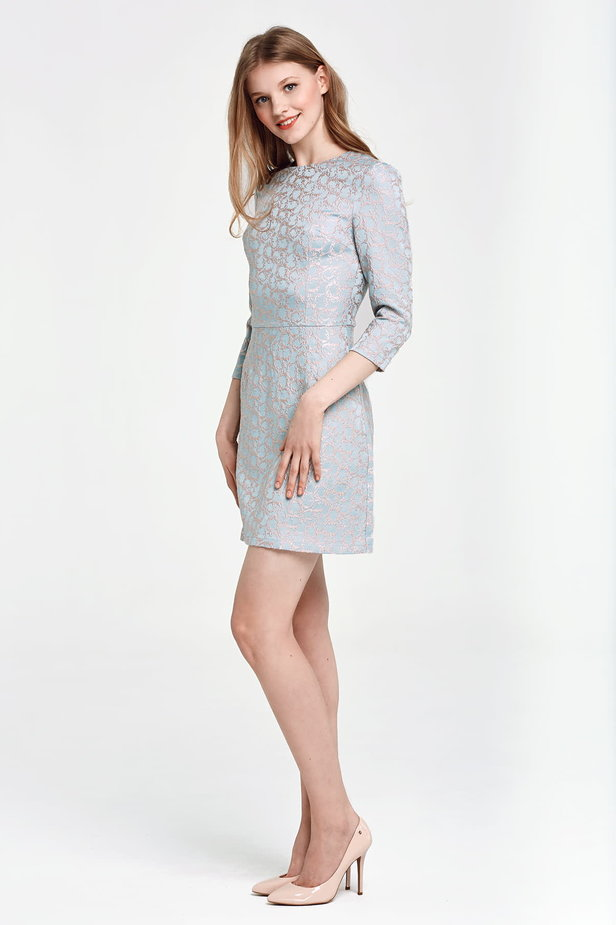 Above the knee A-line blue dress with a beige print photo 4 - MustHave online store