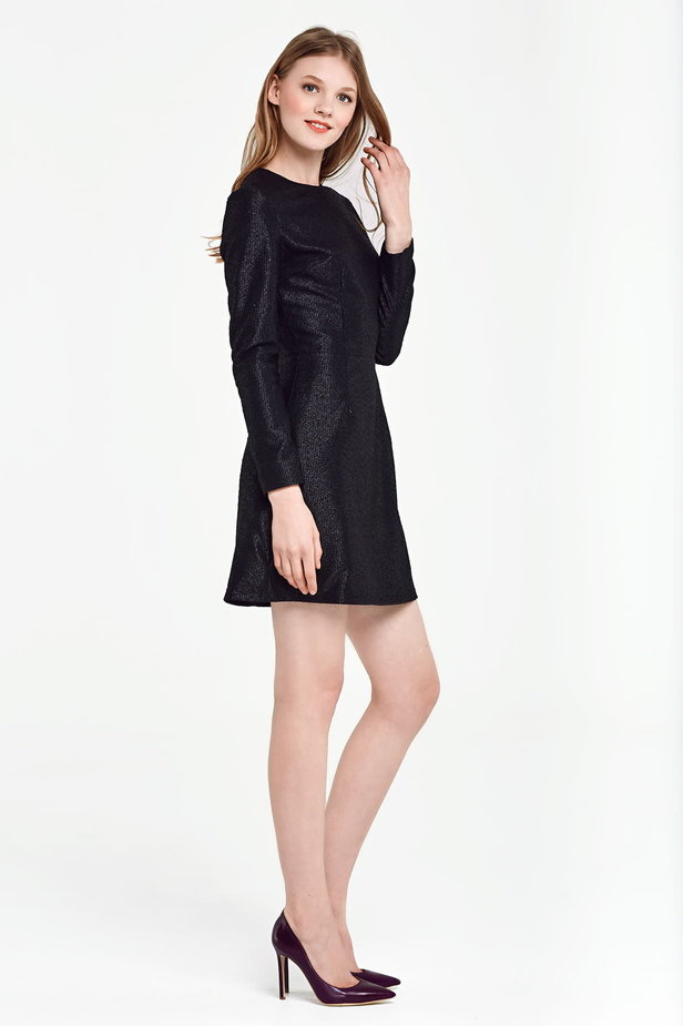 Above the knee A-line black dress with lurex photo 6 - MustHave online store