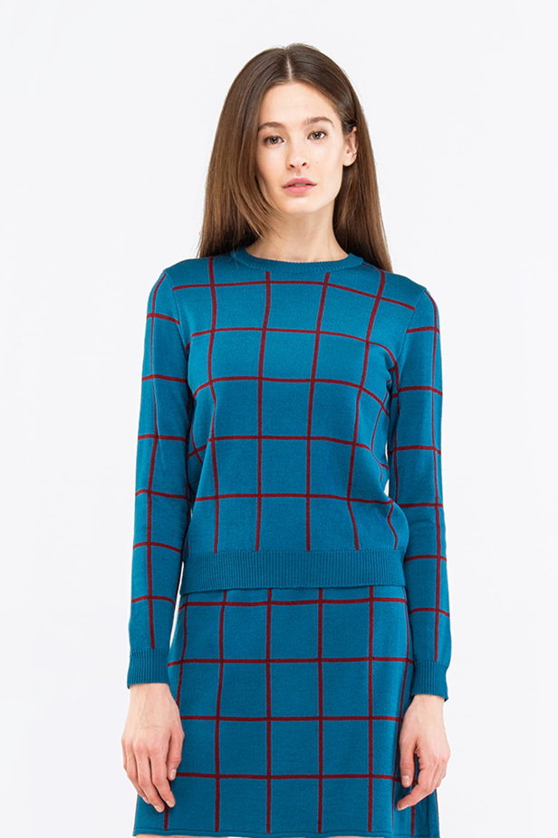 Checked cyan jumper photo 1 - MustHave online store