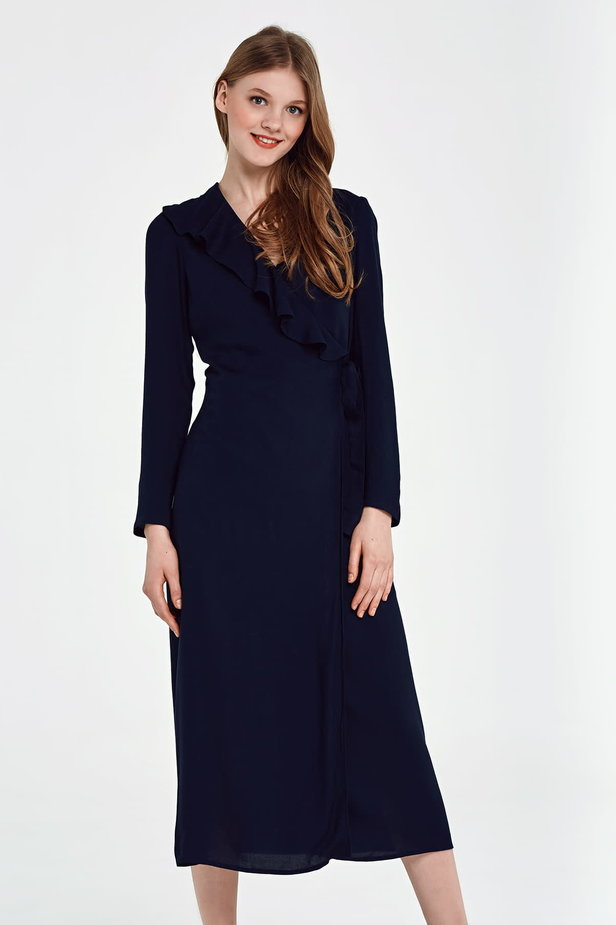 Midi wrap dark blue dress with a flounce photo 1 - MustHave online store
