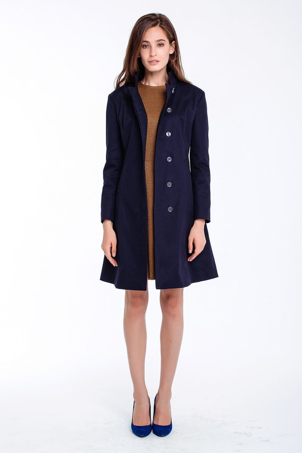 Blue trenchcoat with a stand up collar photo 5 - MustHave online store