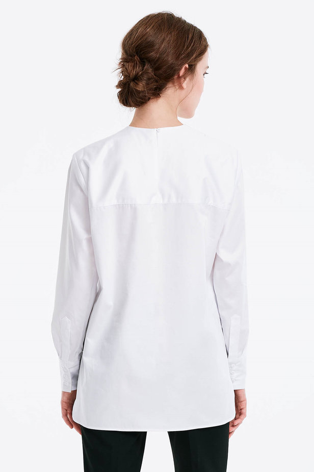 Asymmetrical white shirt photo 3 - MustHave online store