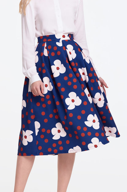 Below the knee blue skirt with white flowers