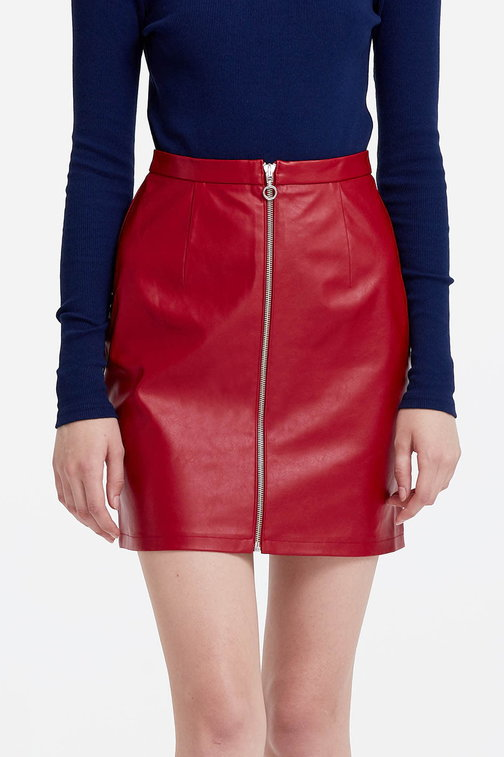 Mini red eco-leather skirt with a zip