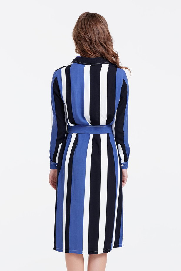 Shirt dress with black and blue stripes photo 2 - MustHave online store