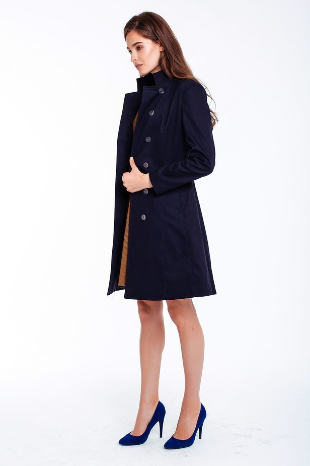Blue trenchcoat with a stand up collar photo 4 - MustHave online store