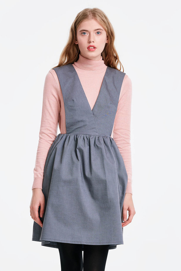 V-neck grey sundress photo 1 - MustHave online store