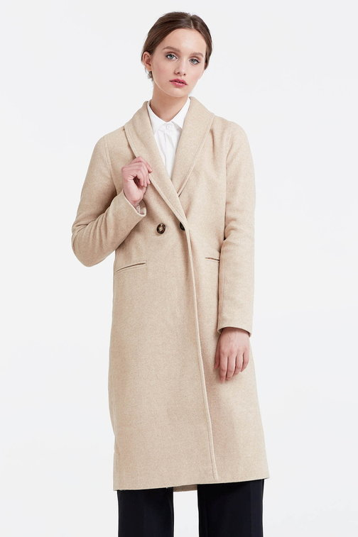 Below the knee double-breasted beige coat