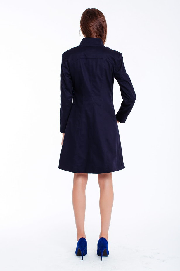 Blue trenchcoat with a stand up collar photo 3 - MustHave online store