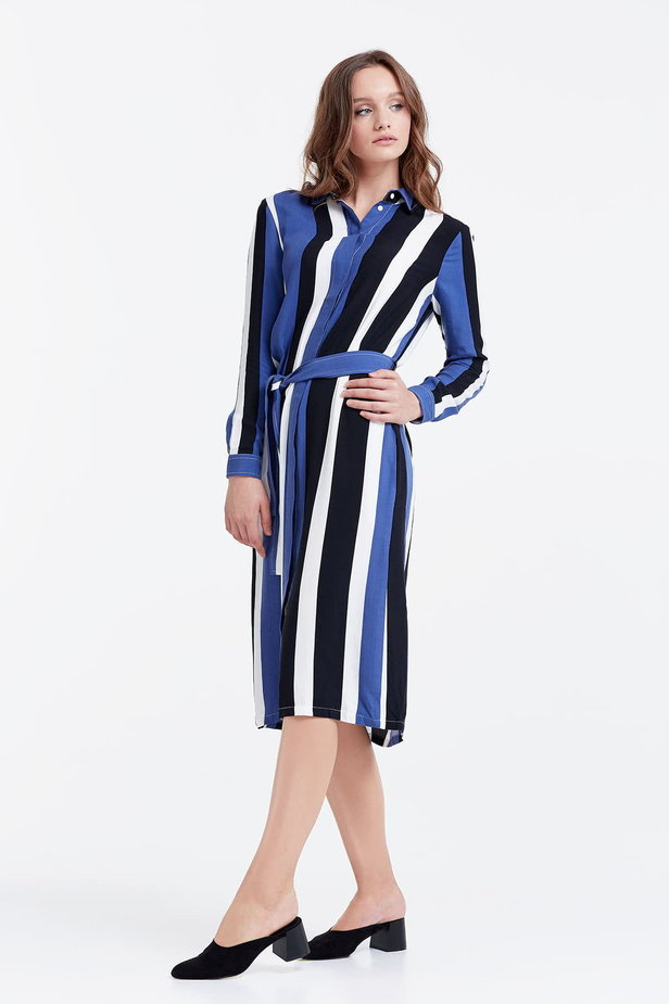 Shirt dress with black and blue stripes photo 3 - MustHave online store
