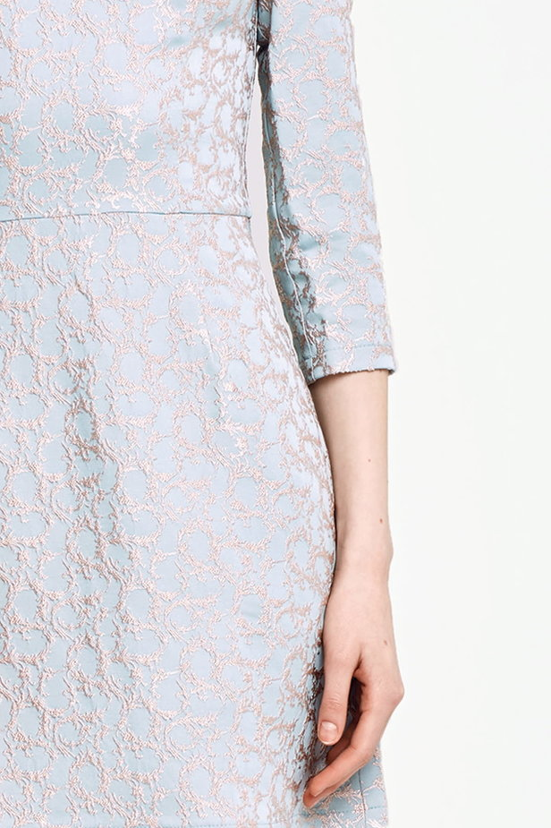 Above the knee A-line blue dress with a beige print photo 3 - MustHave online store