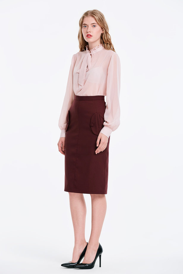 Burgundy skirt with pockets photo 4 - MustHave online store