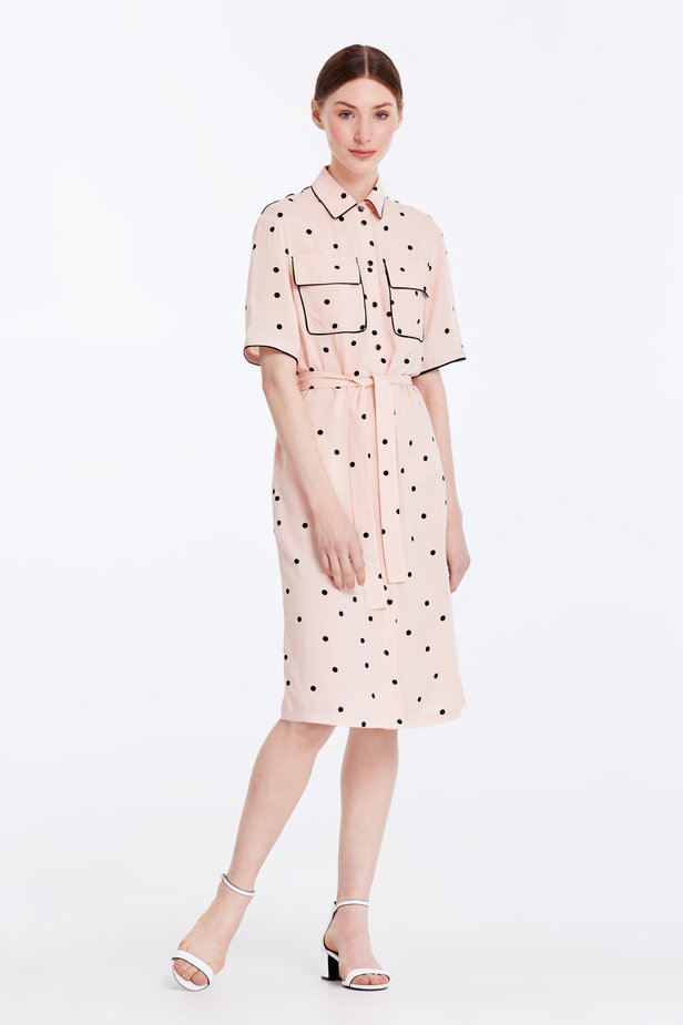 Beige dress with a black polka dot print and a black piping photo 3 - MustHave online store