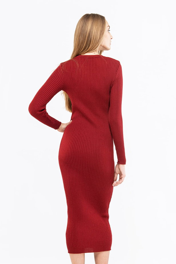 Wine knit sheath midi dress photo 2 - MustHave online store
