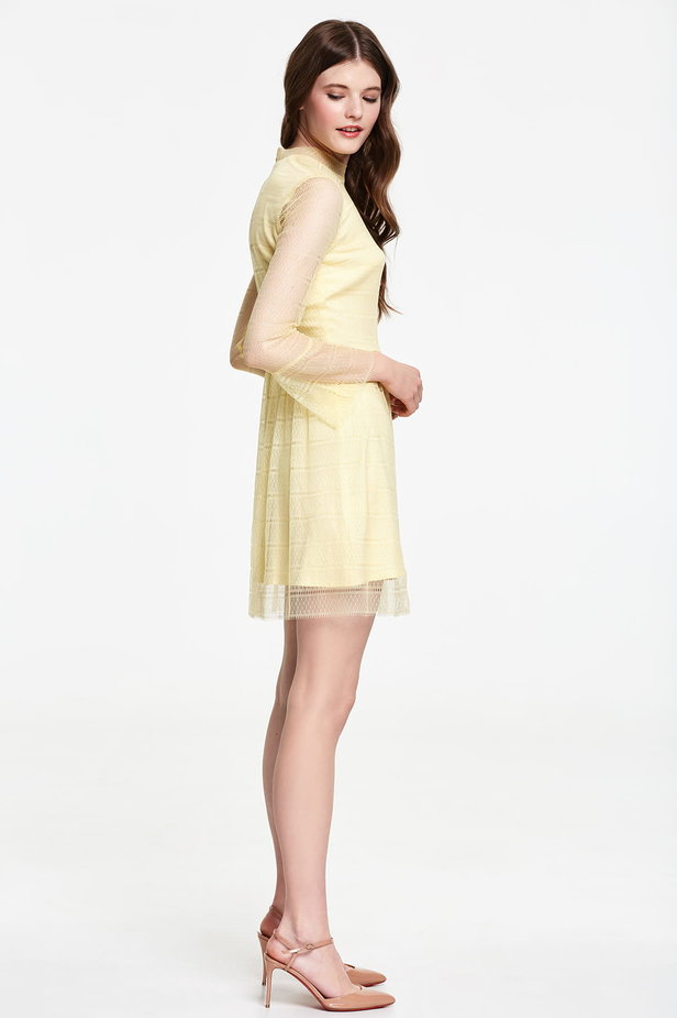 Mini yellow lace dress with flounced sleeves photo 6 - MustHave online store