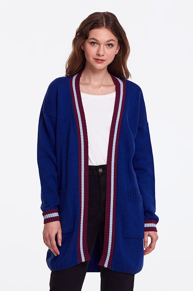 Blue cardigan with stripes photo 2 - MustHave online store