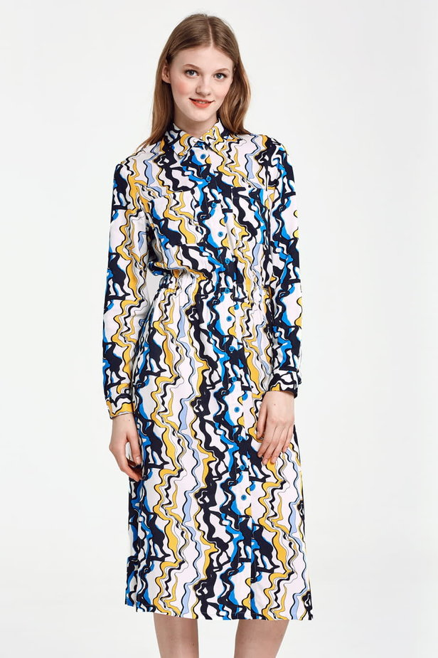 Midi dress with an elastic waistband and pockets, yellow and blue print photo 1 - MustHave online store