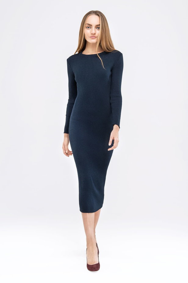 Blue knit sheath midi dress photo 3 - MustHave online store
