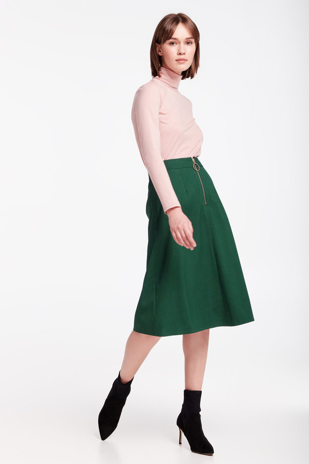 Green midi dress with a front zip photo 6 - MustHave online store