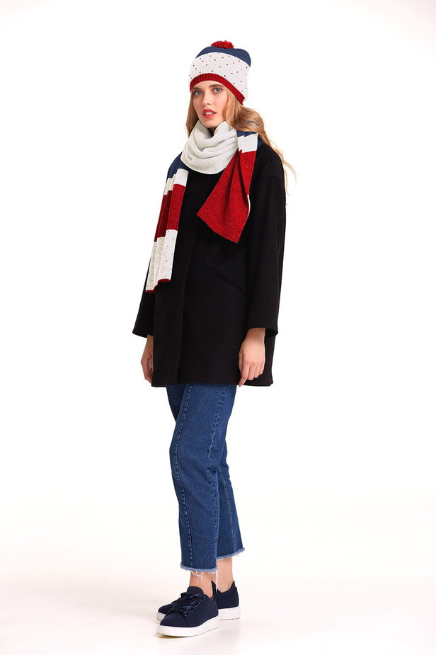 White scarf with red and blue stripes photo 4 - MustHave online store