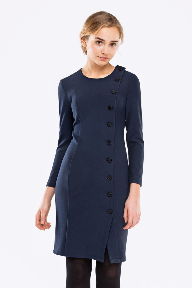 Dark blue dress with buttons photo 1 - MustHave online store