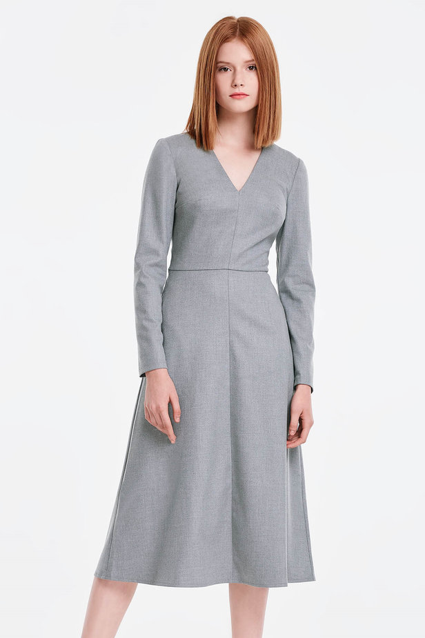 V-neck grey dress photo 1 - MustHave online store