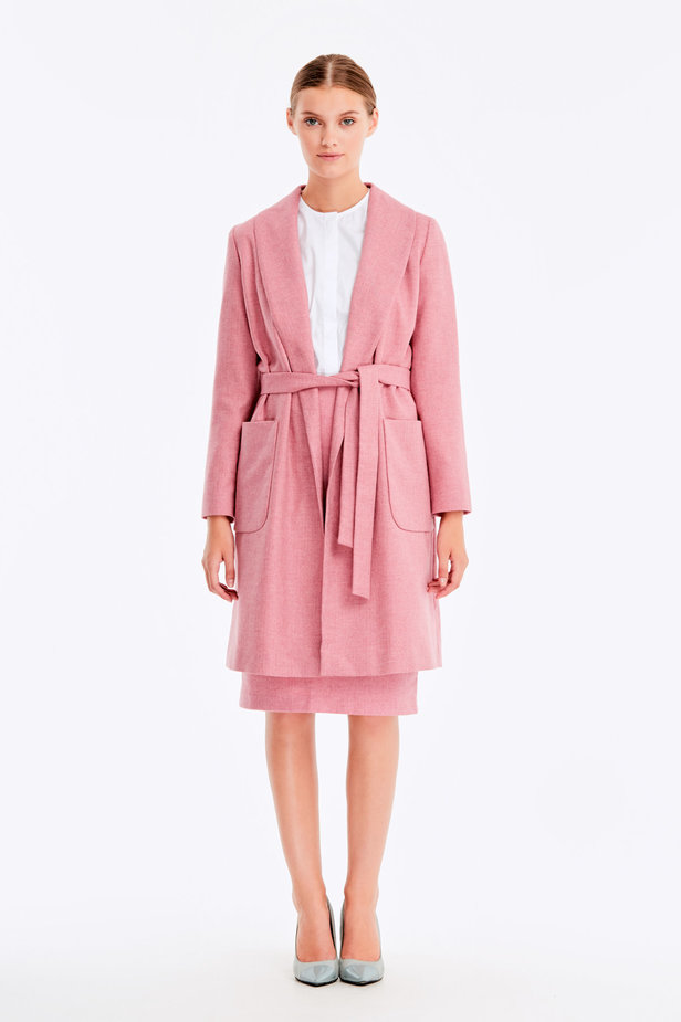 Long pink jacket with herringbone print photo 2 - MustHave online store