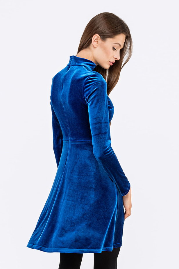 Blue A-line velour dress photo 2 - MustHave online store