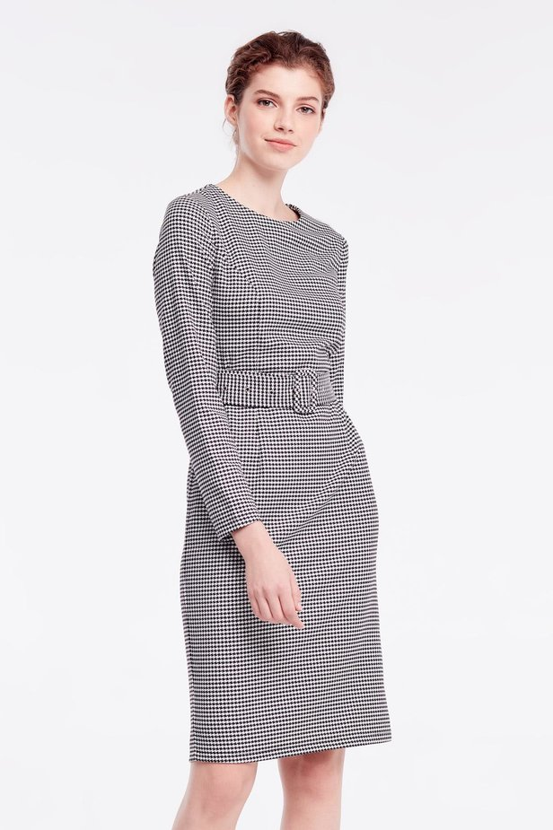 Column dress with black-and-white houndstooth print photo 1 - MustHave online store