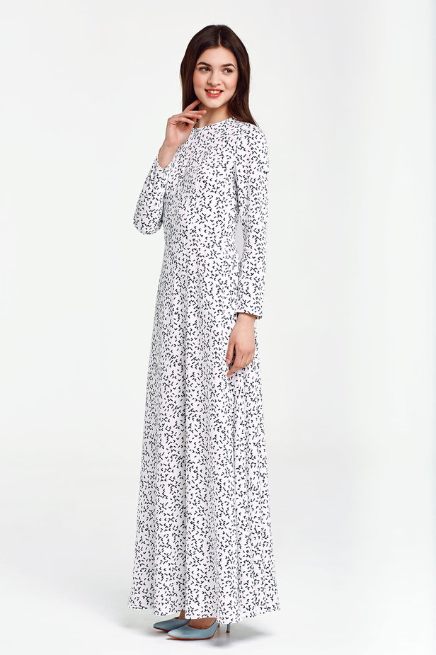Maxi white dress, blue geometric print photo 2 - MustHave online store