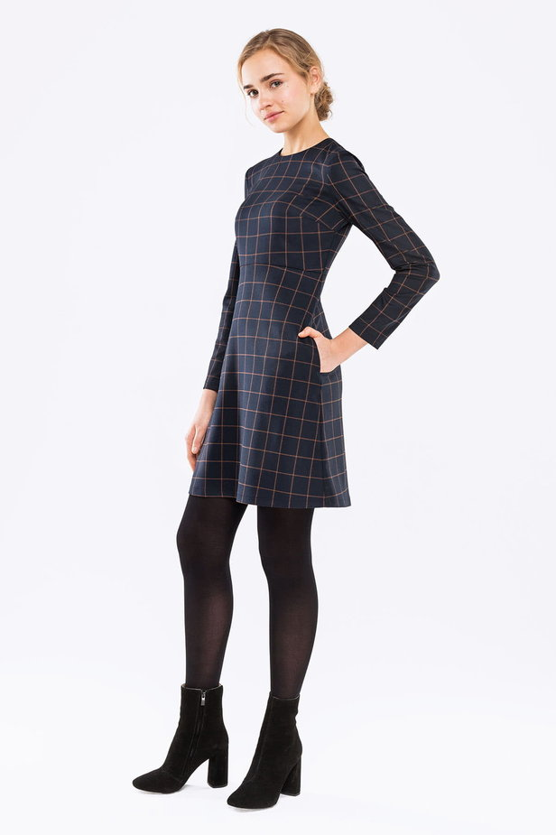 Blue A-line checked dress photo 2 - MustHave online store