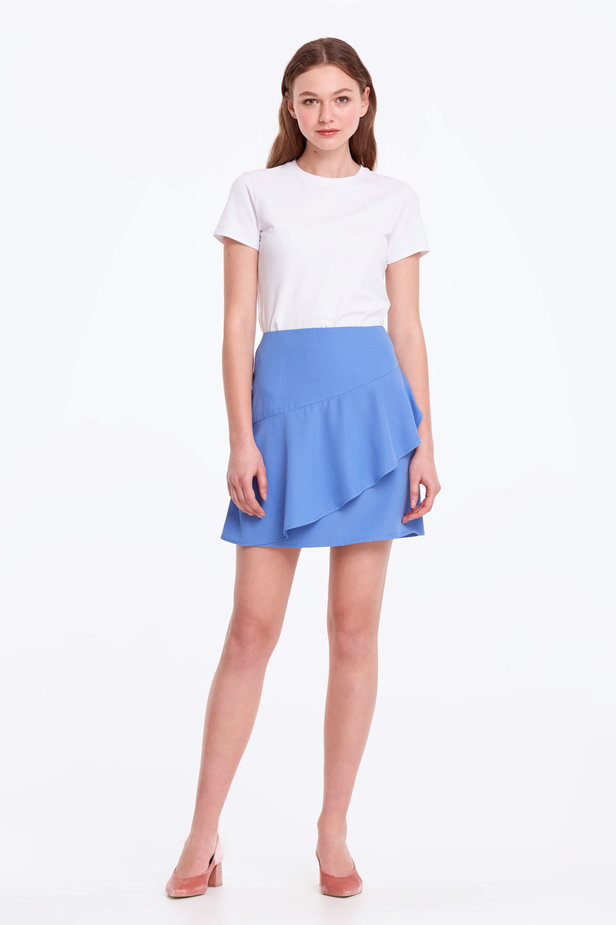 Mini blue skirt with a flounce photo 2 - MustHave online store