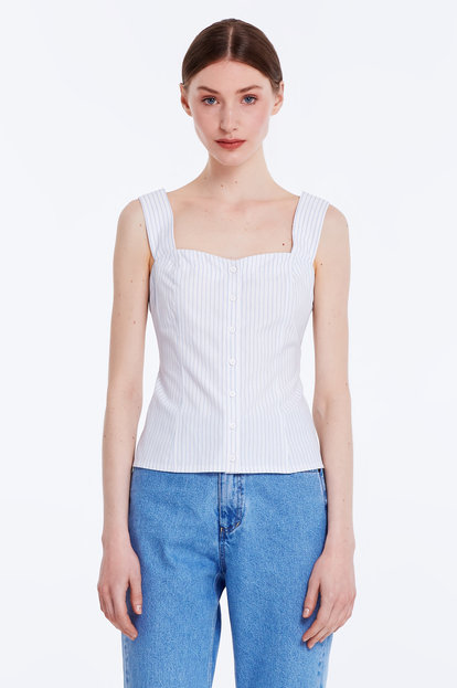 White top with blue stripes and buttons