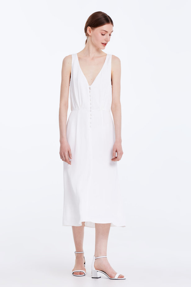 Midi white sundress with buttons photo 3 - MustHave online store