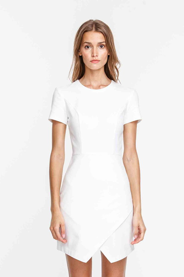Wrap white dress photo 1 - MustHave online store