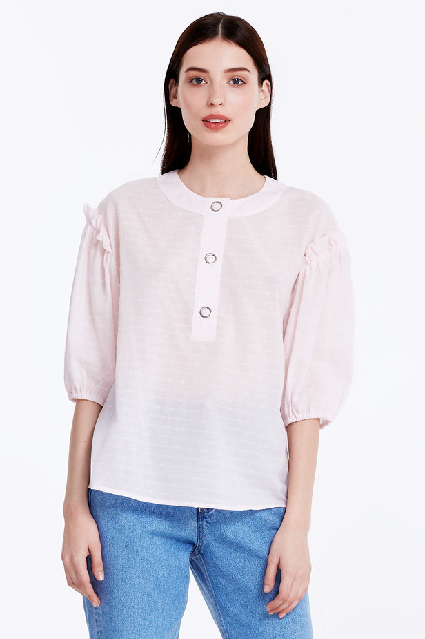 Light-pink shirt with ruffles photo 1 - MustHave online store