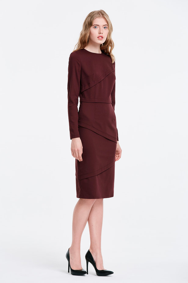 Burgundy dress with stripes photo 4 - MustHave online store