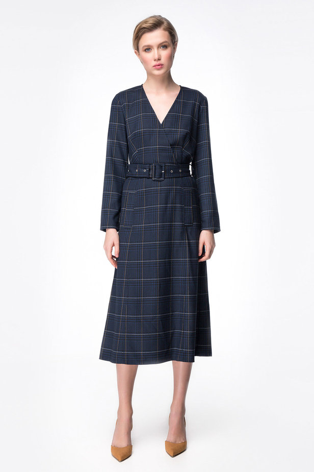 Dark-blue check dress with a waist photo 2 - MustHave online store