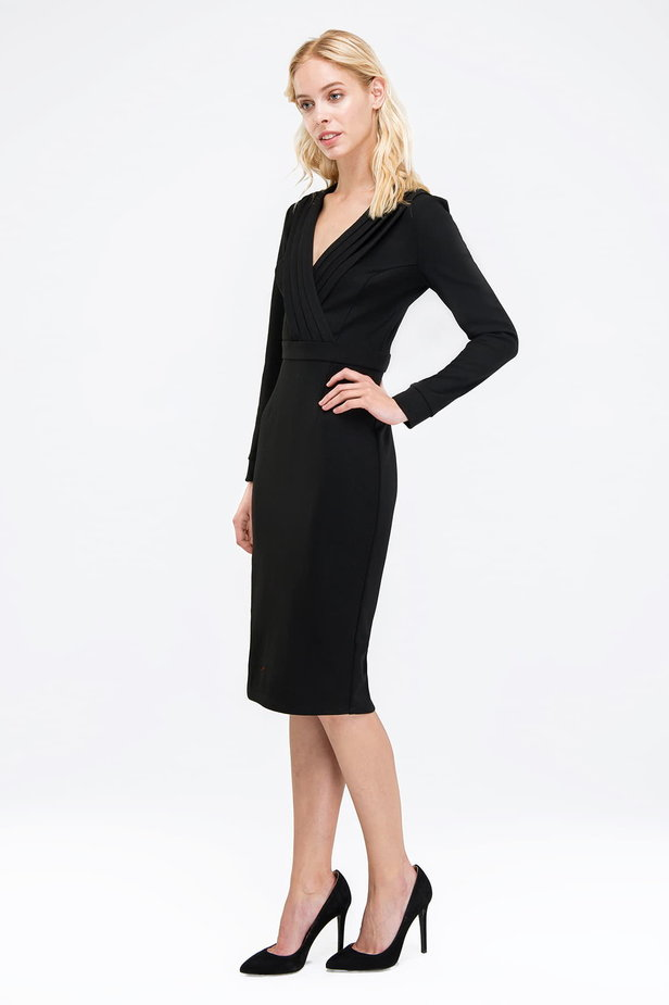 Black column dress with pleats on the chest photo 2 - MustHave online store