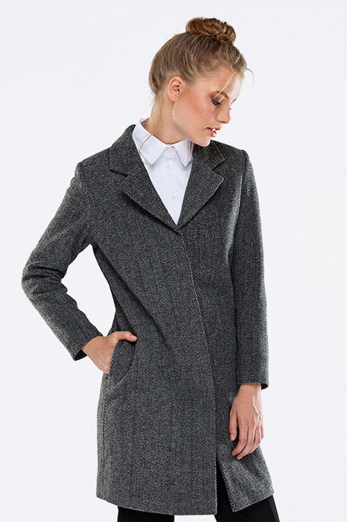 Above the knee grey coat with pockets