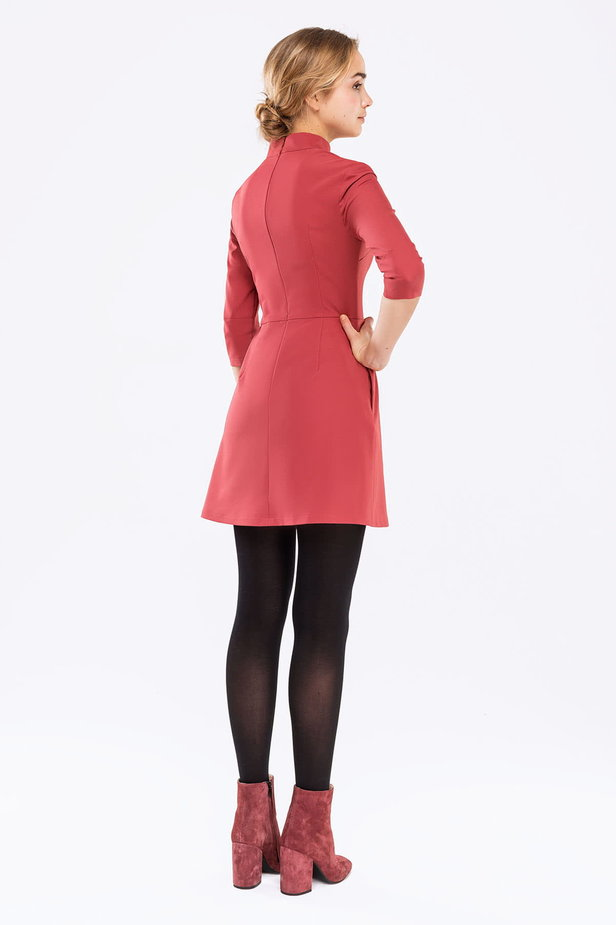 Pink A-line dress with a stand up collar photo 4 - MustHave online store