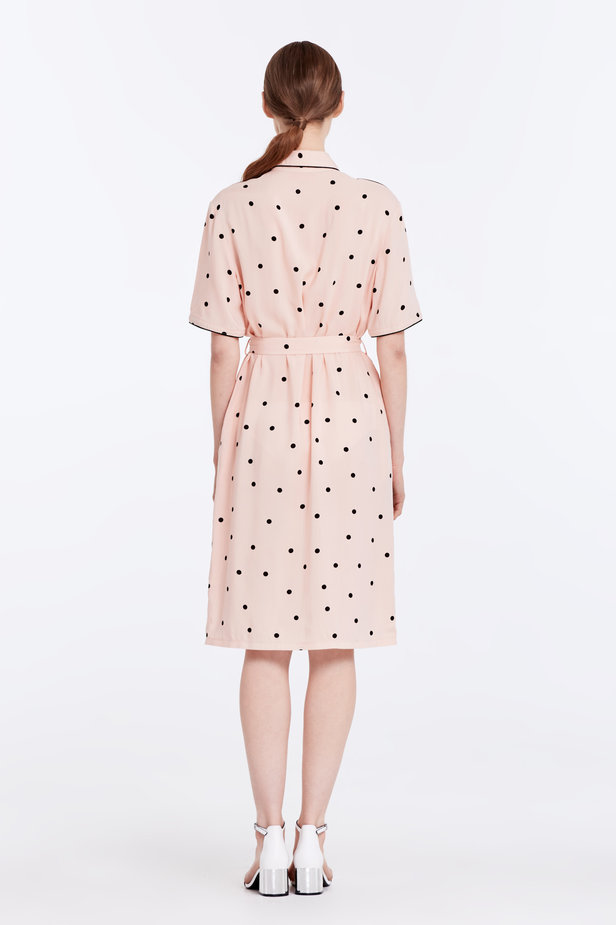 Beige dress with a black polka dot print and a black piping photo 7 - MustHave online store