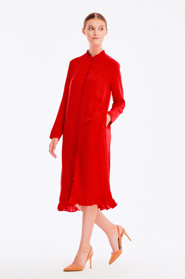 Red dress with ruffles and buttons photo 4 - MustHave online store