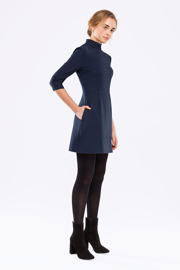 Blue A-line dress with a stand up collar photo 4 - MustHave online store