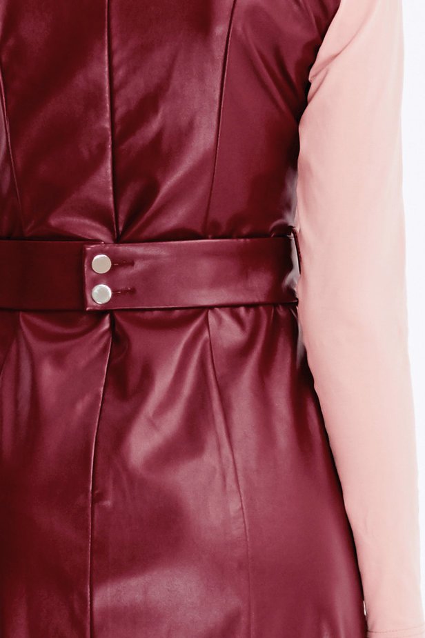 Below-knee burgundy leather dress photo 6 - MustHave online store