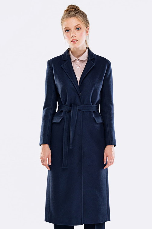 Below the knee blue coat with a belt