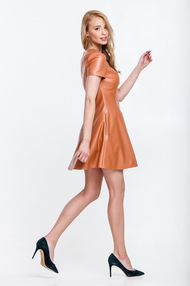 Beige leather mini dress, flared photo 2 - MustHave online store