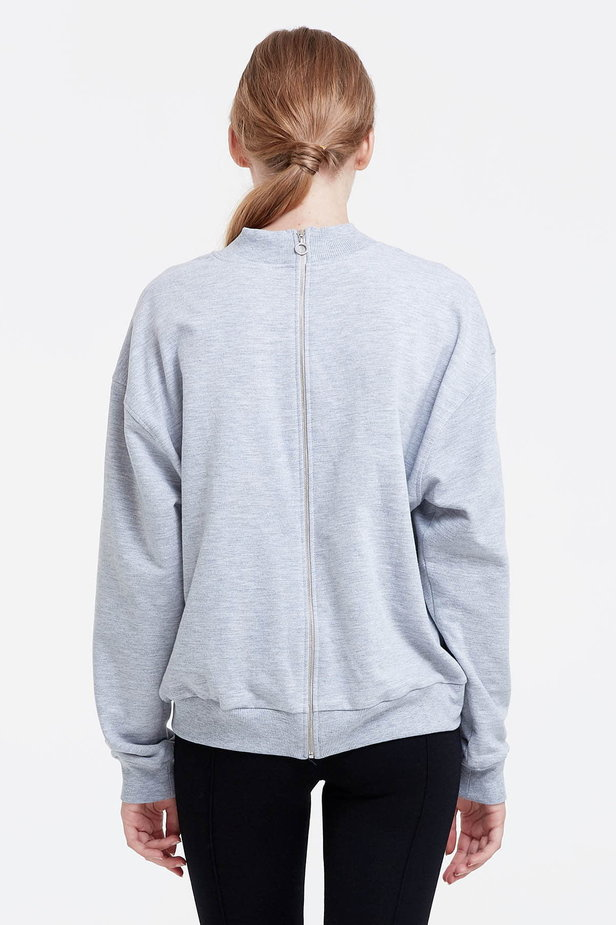Grey sweatshirt with a zip at the back photo 4 - MustHave online store