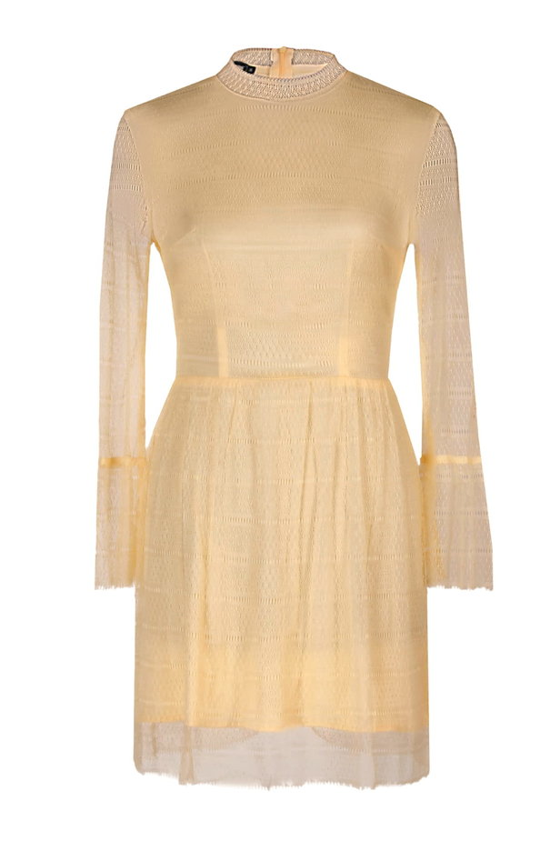 Mini yellow lace dress with flounced sleeves photo 2 - MustHave online store
